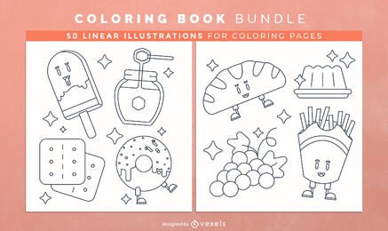 Sweet food coloring book pages design