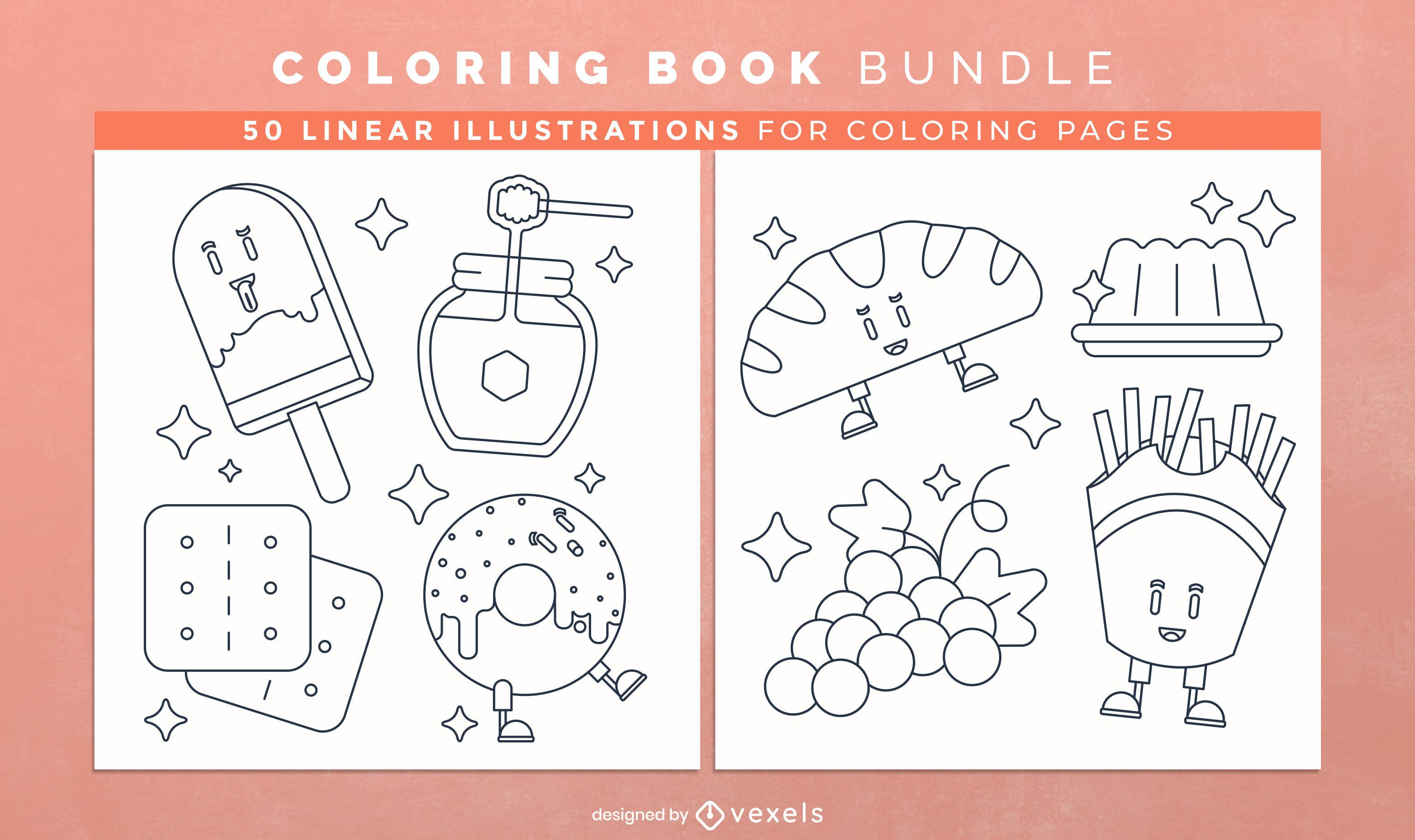 Desenho de páginas de livros para colorir com alimentos doces