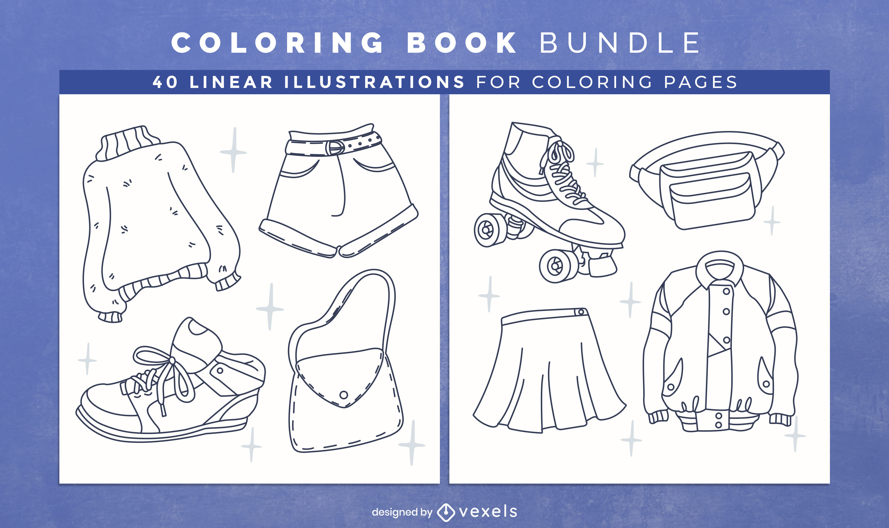 Fashion clothes coloring book design pages