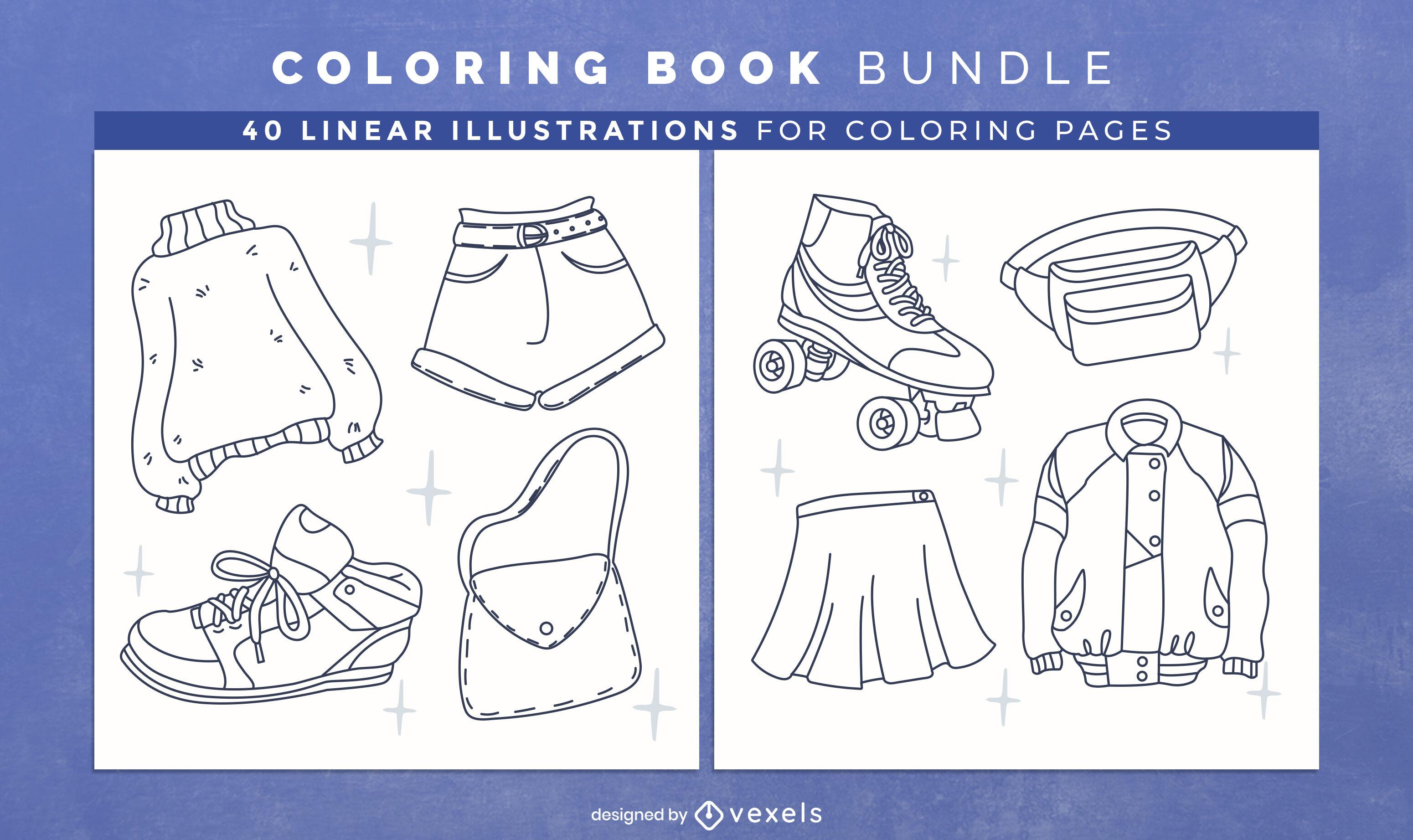 Páginas de design de livros para colorir de roupas da moda