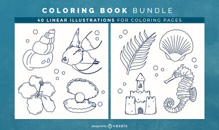 Ocean nature coloring book design pages
