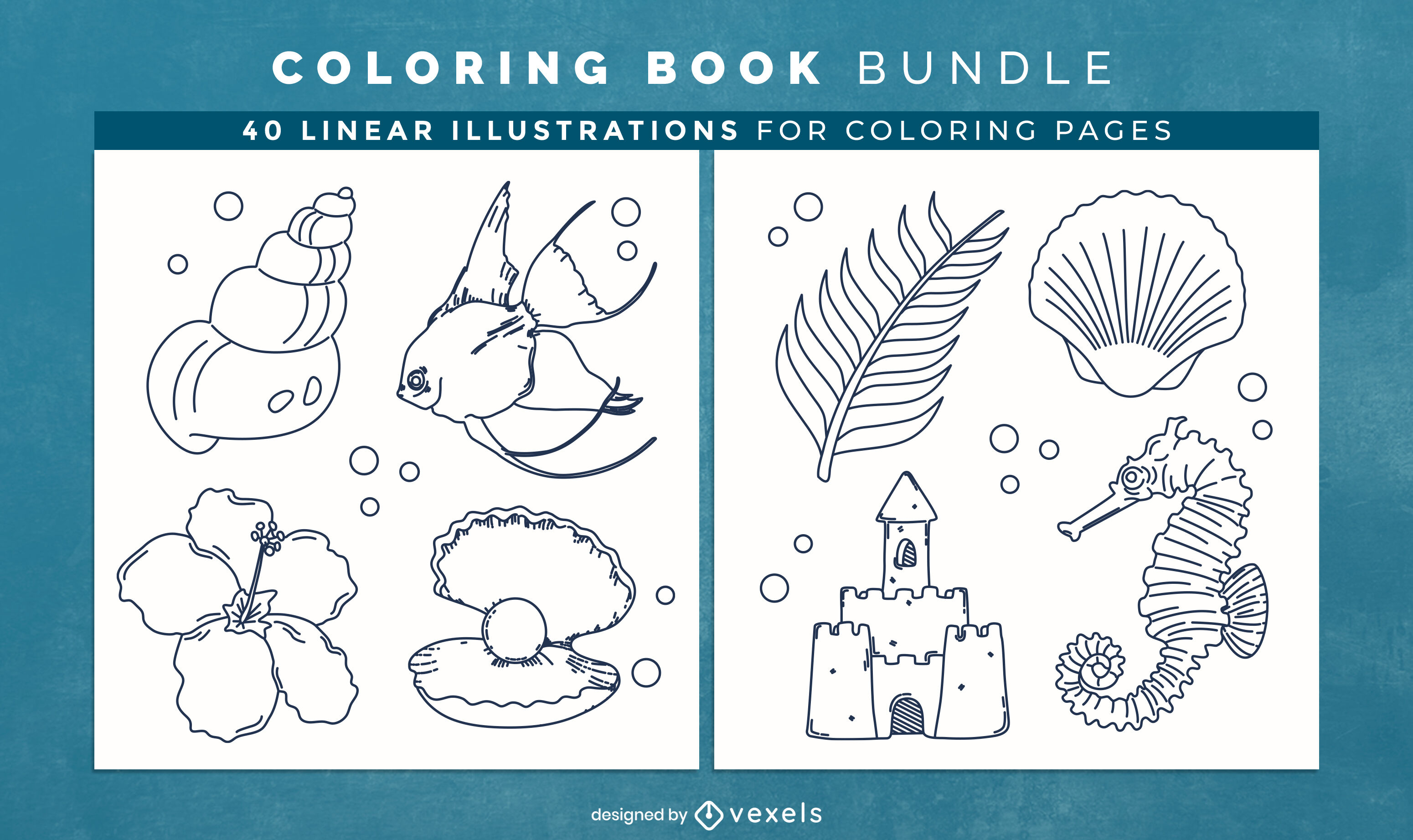Páginas de design de livro para colorir da natureza do oceano