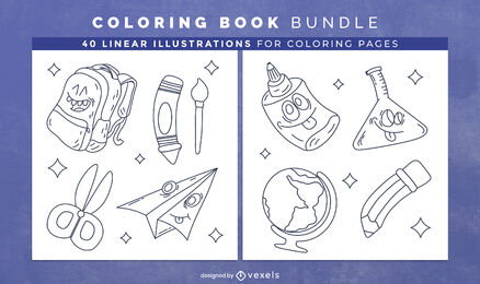 School supplies coloring book pages design