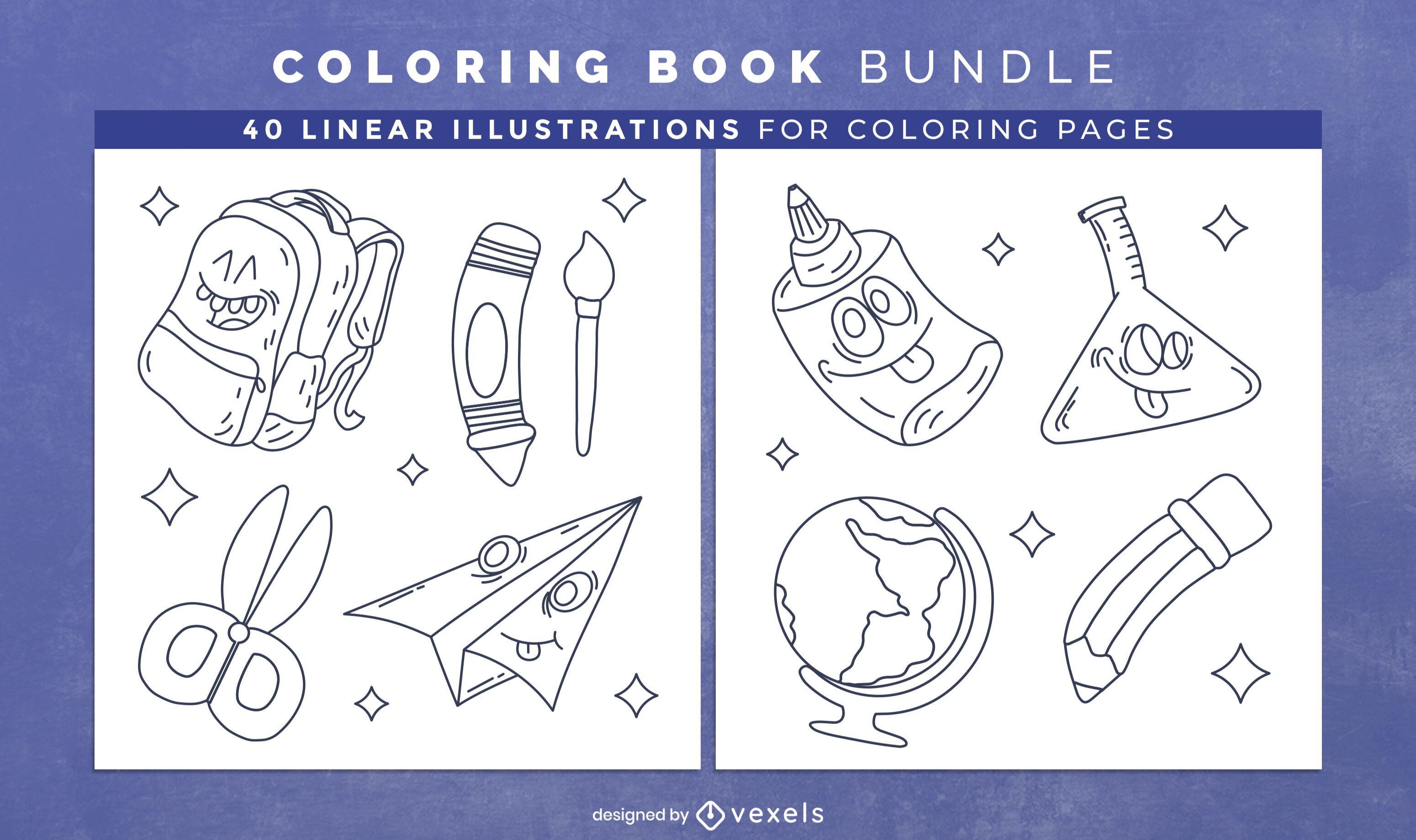 Diseño de páginas de libro para colorear de útiles escolares