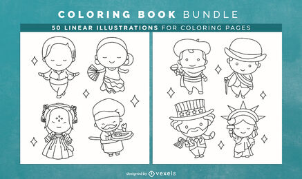 Chibi country character coloring book design pages