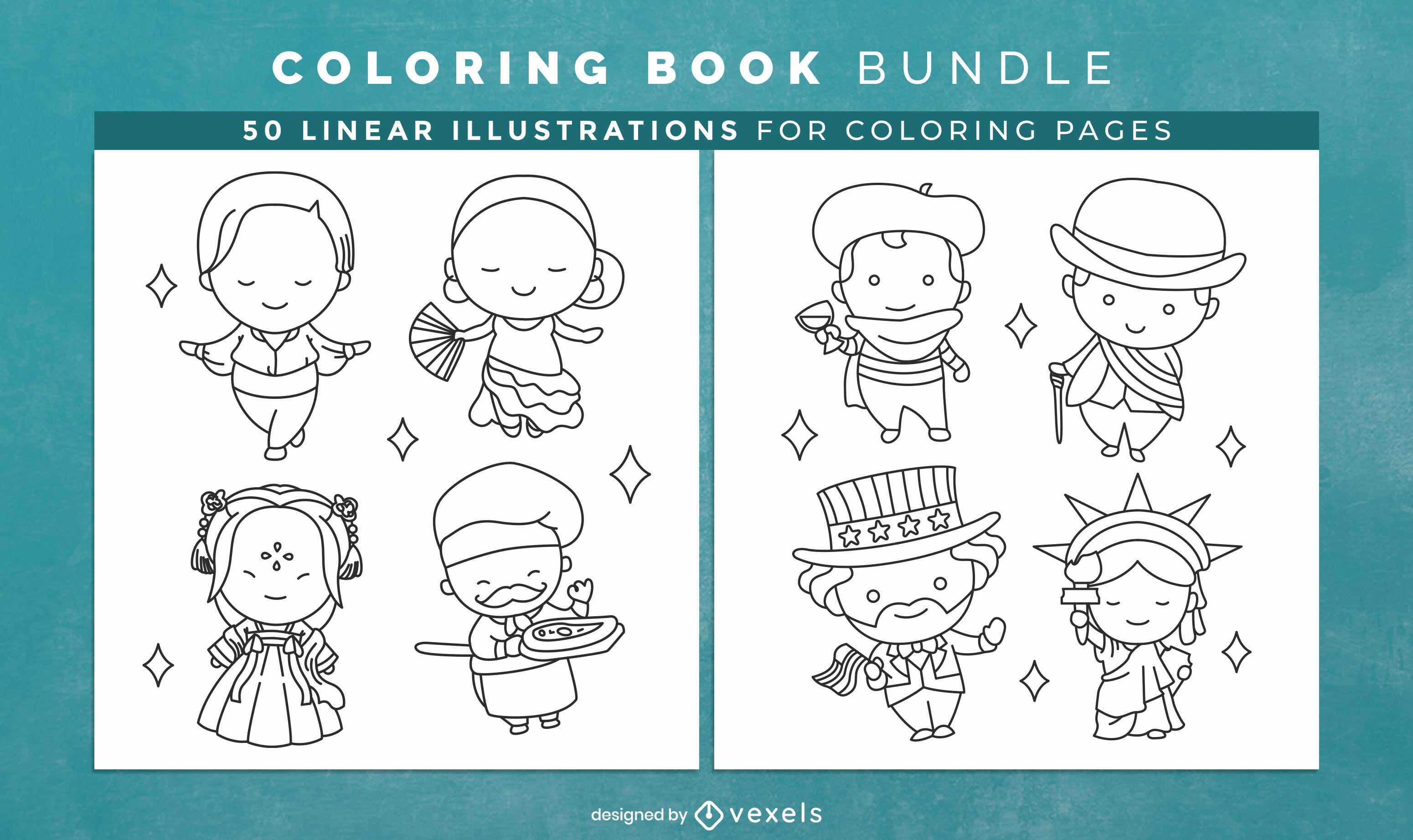 Páginas de design de livro para colorir de personagem country de Chibi