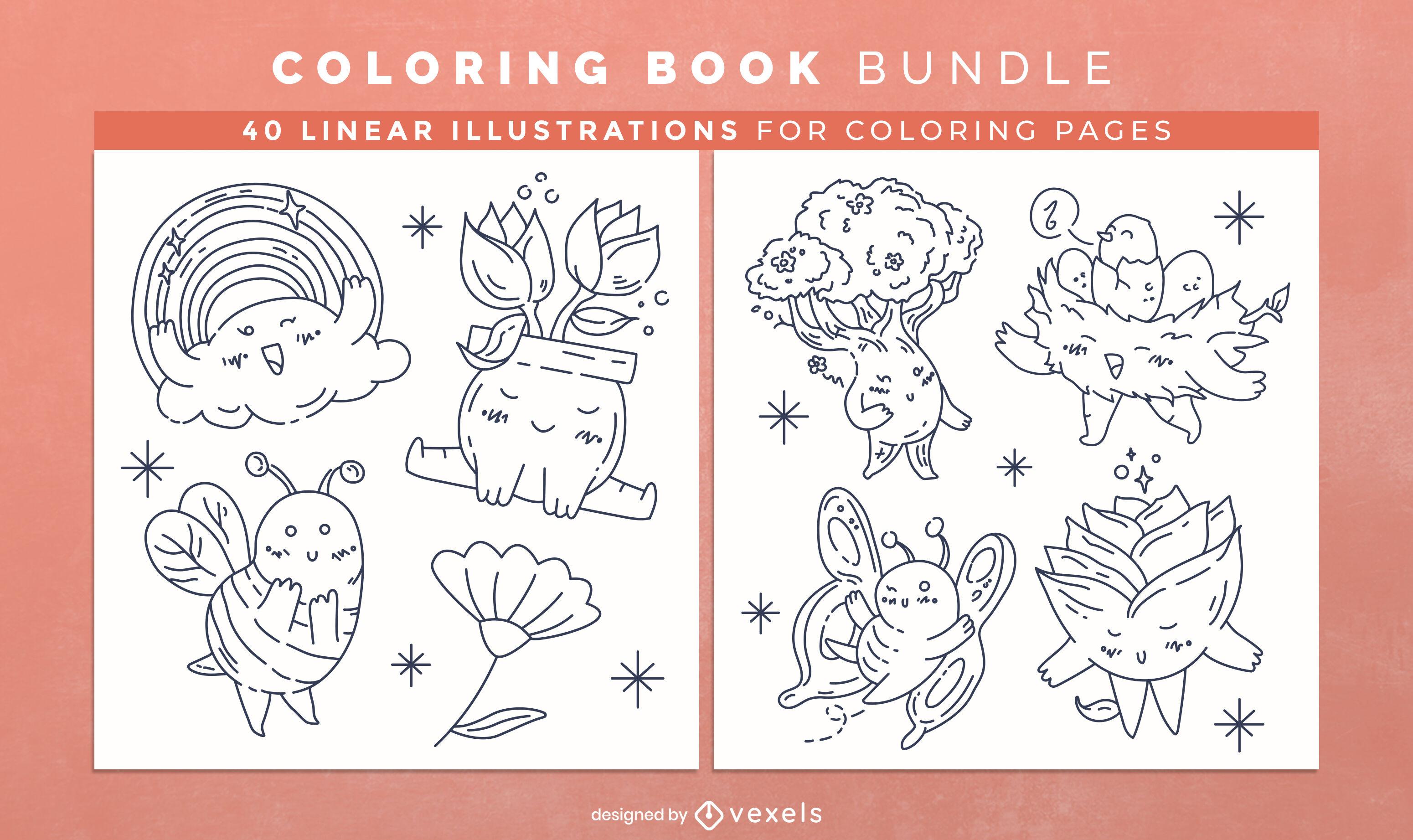 Páginas de design de livro para colorir da natureza da primavera
