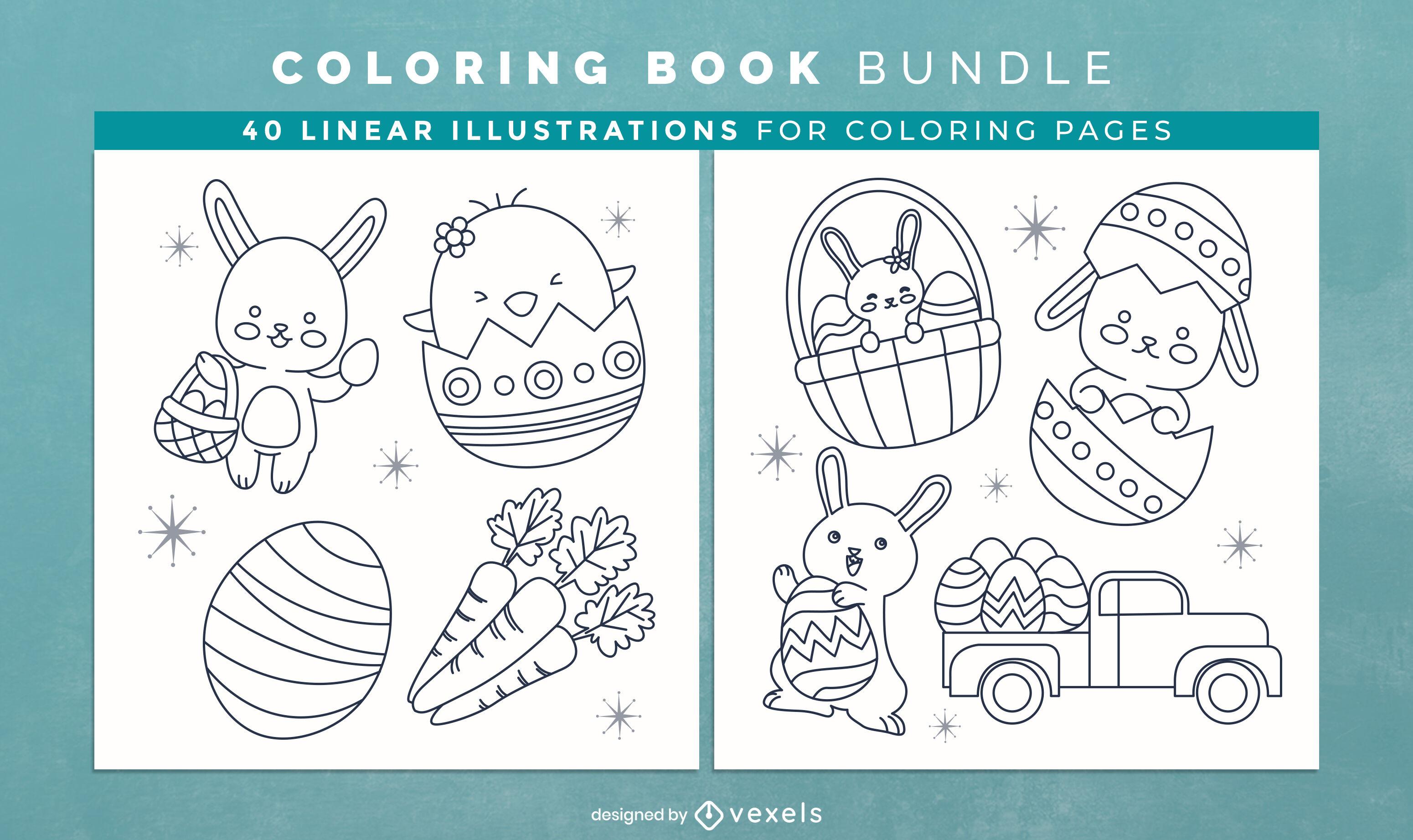Easter eggs coloring book interior design
