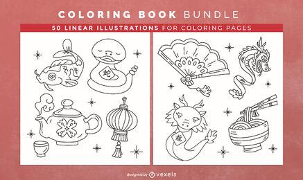 Asian culture coloring book interior design