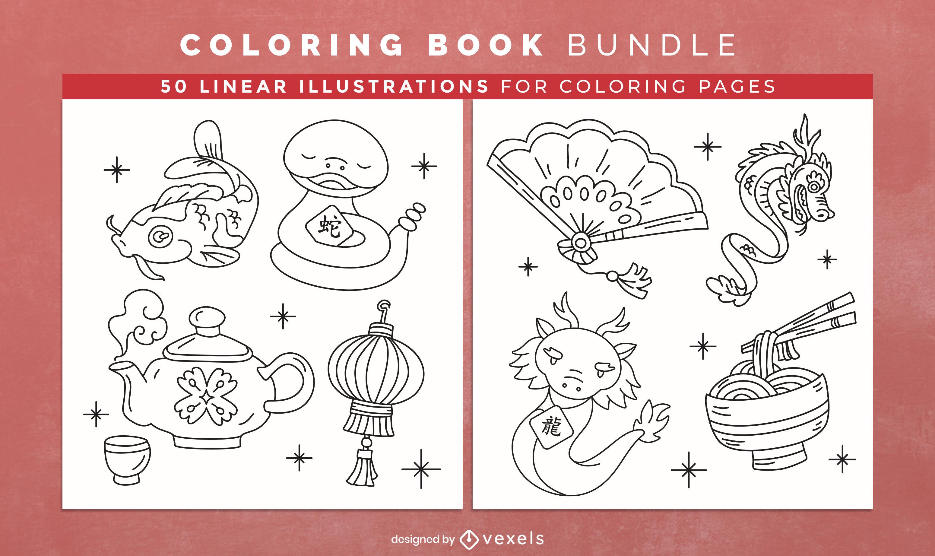 Design de interiores de livro para colorir de cultura asiática