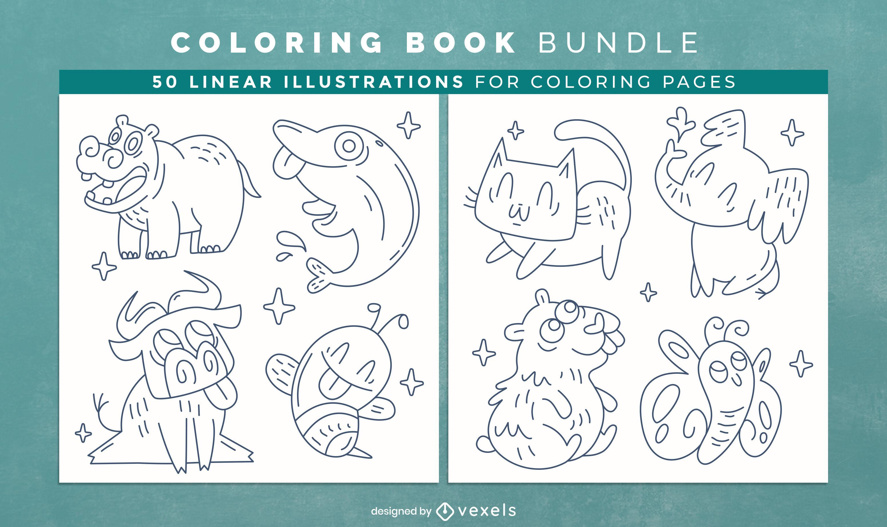 Diseño de páginas de libro para colorear de animales divertidos