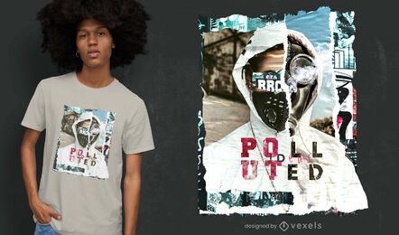 Polluted collage psd t-shirt design