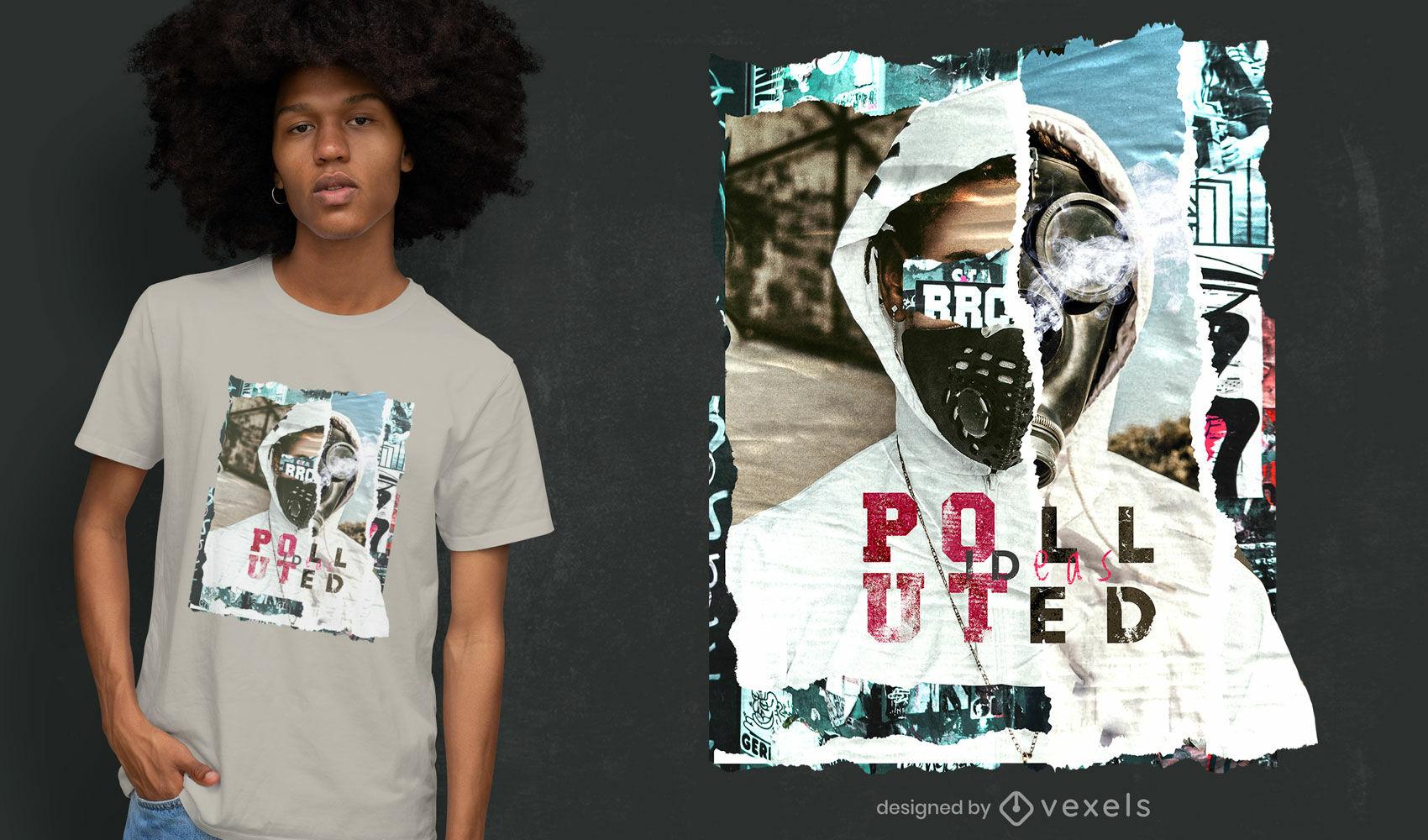 Dise?o de camiseta psd collage contaminado