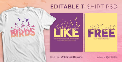 Flying birds effect scalable psd t-shirt template