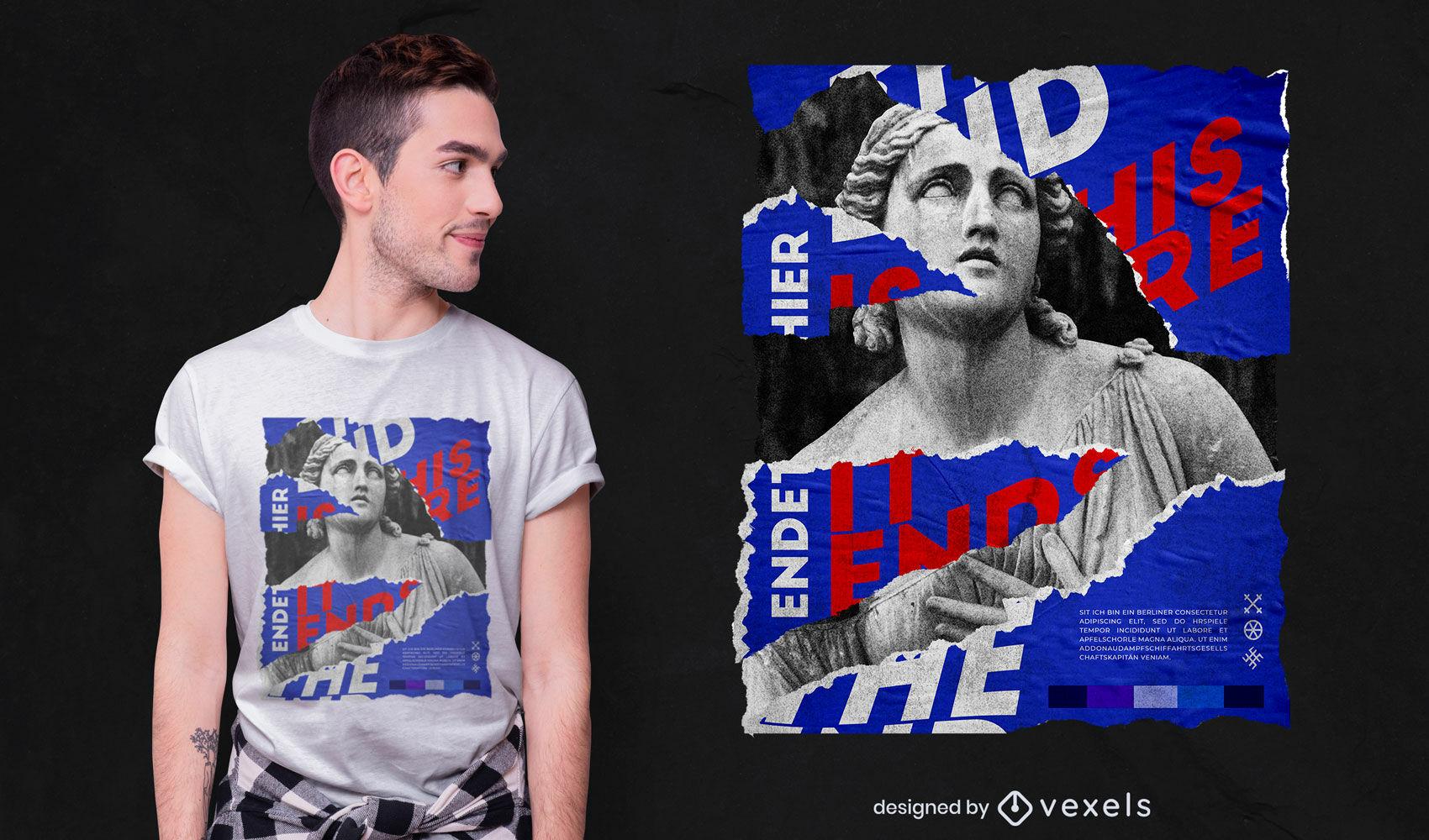 O design da t-shirt psd estátua final