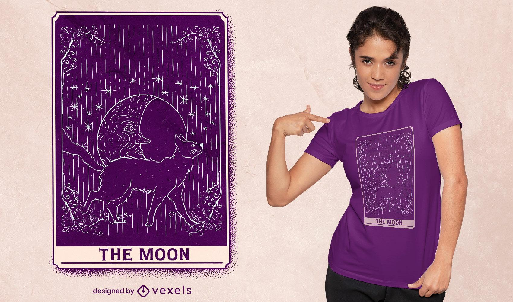 Diseño de camiseta del gato y la luna de la carta del tarot.
