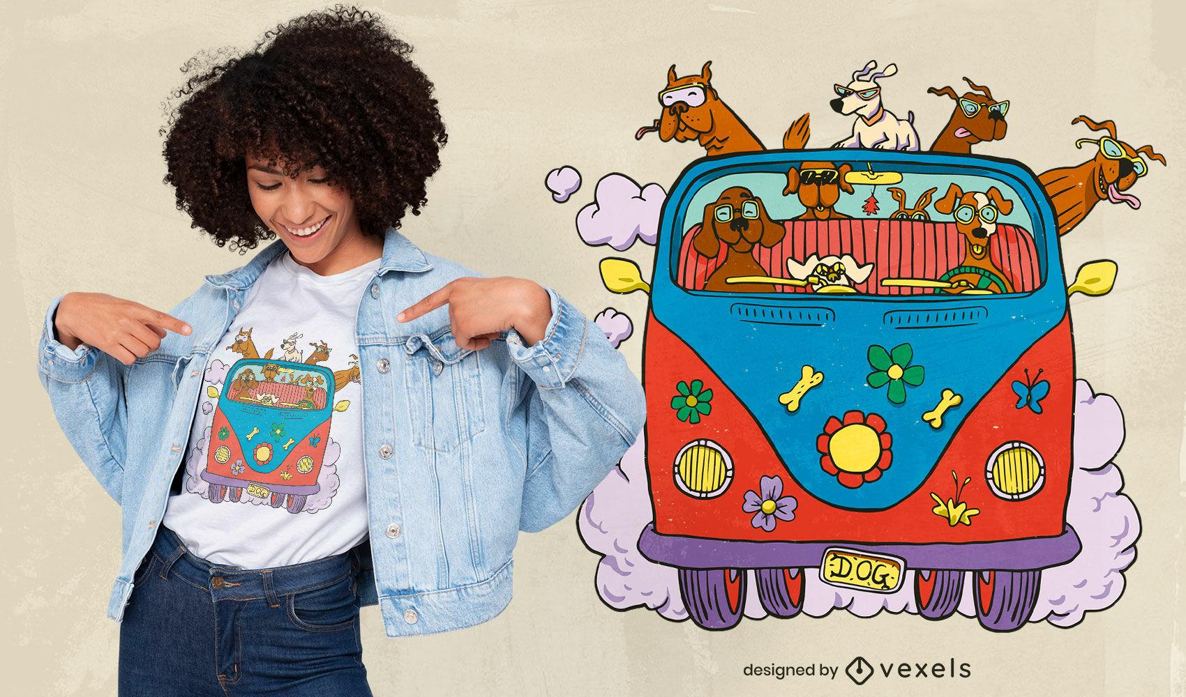 Perros en diseño de camiseta hippie van.