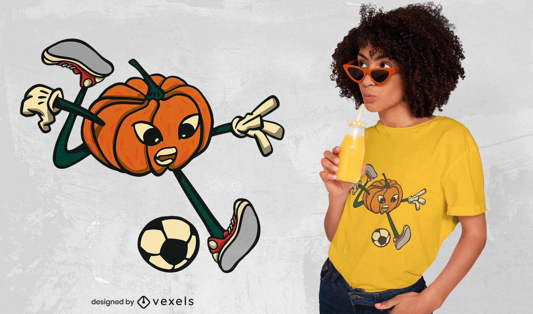 Diseño de camiseta de calabaza jugando fútbol.