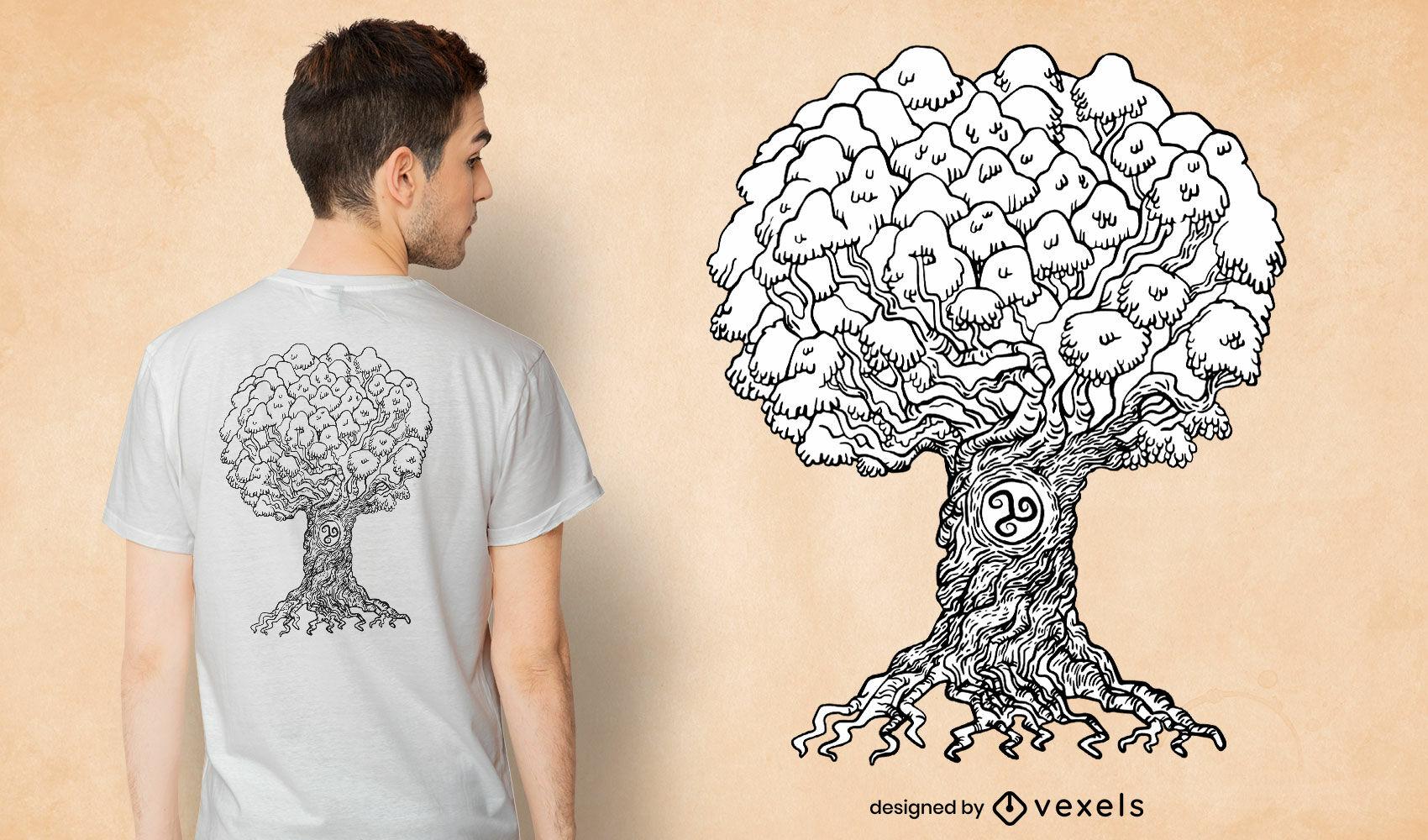Diseño de camiseta de árbol de la vida dibujada a mano.