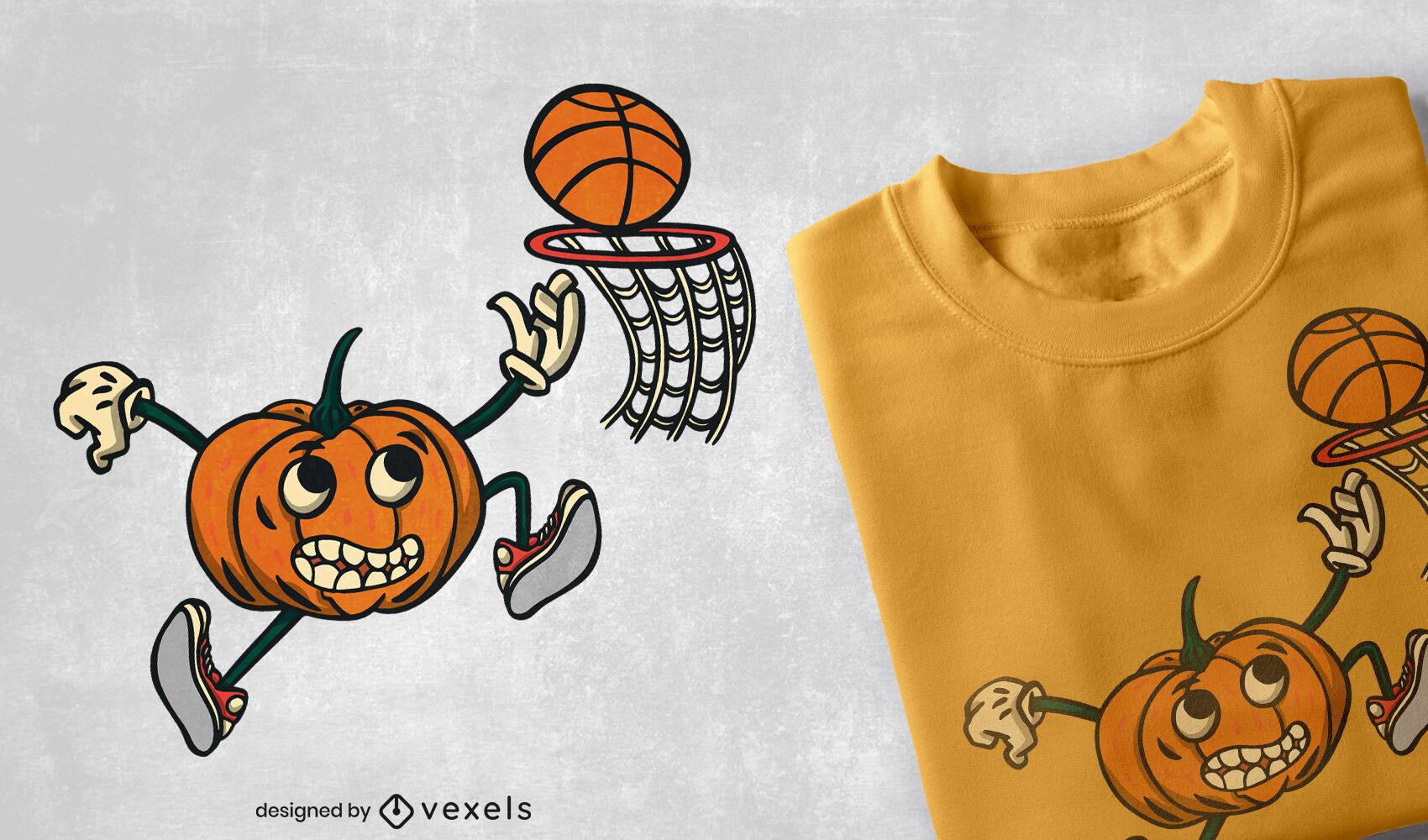 Diseño de camiseta de calabaza jugando baloncesto.