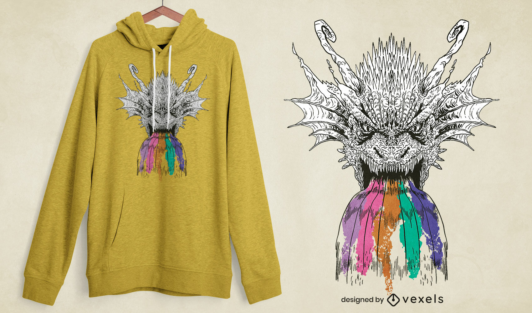 Diseño de camiseta de dragón rugiente arcoiris