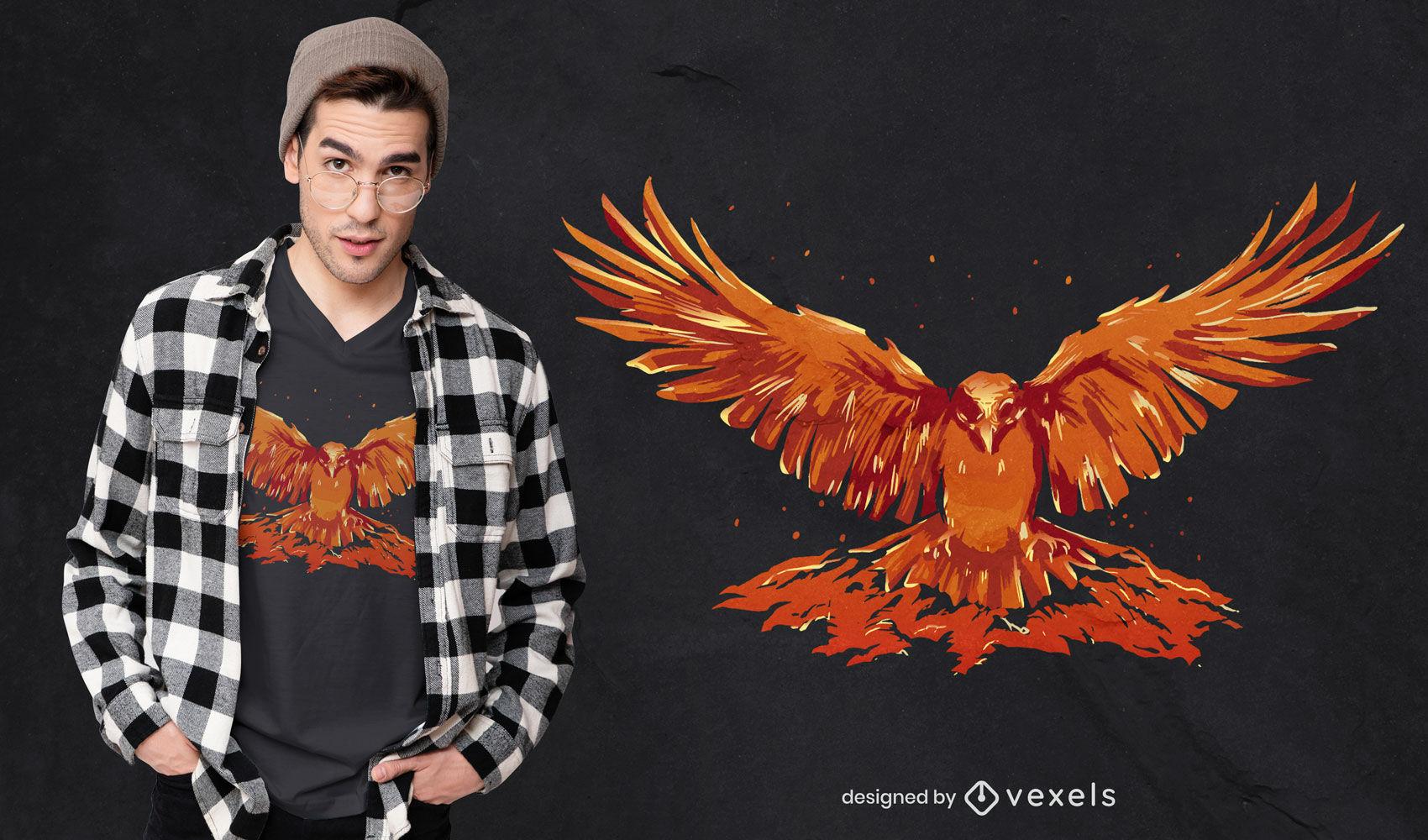 Diseño de camiseta de ave fénix voladora