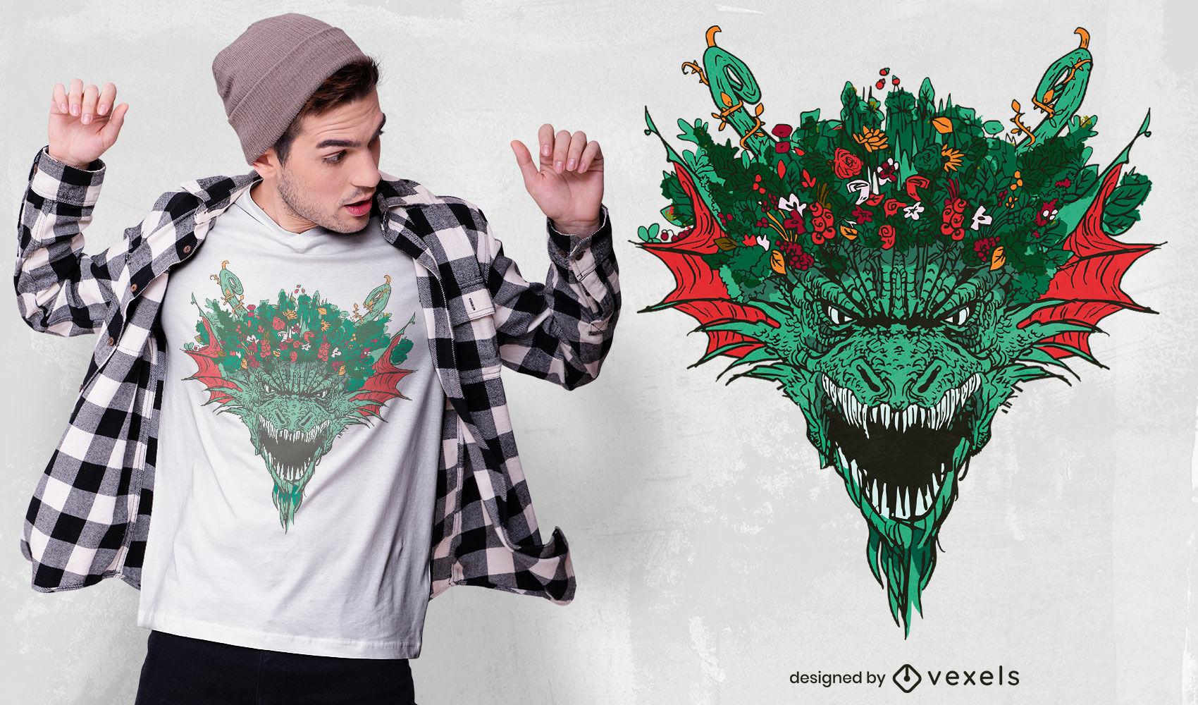 Diseño de camiseta con corona de dragón.