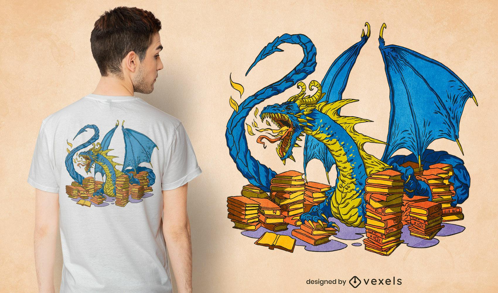 Dragón de biblioteca con diseño de camiseta de libros.