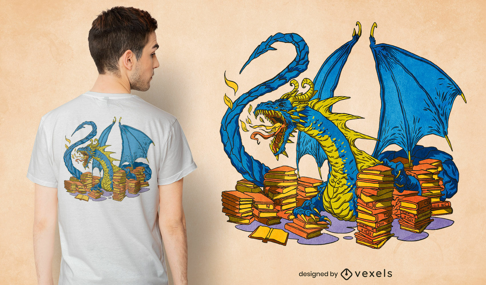 Library dragon with books t-shirt design