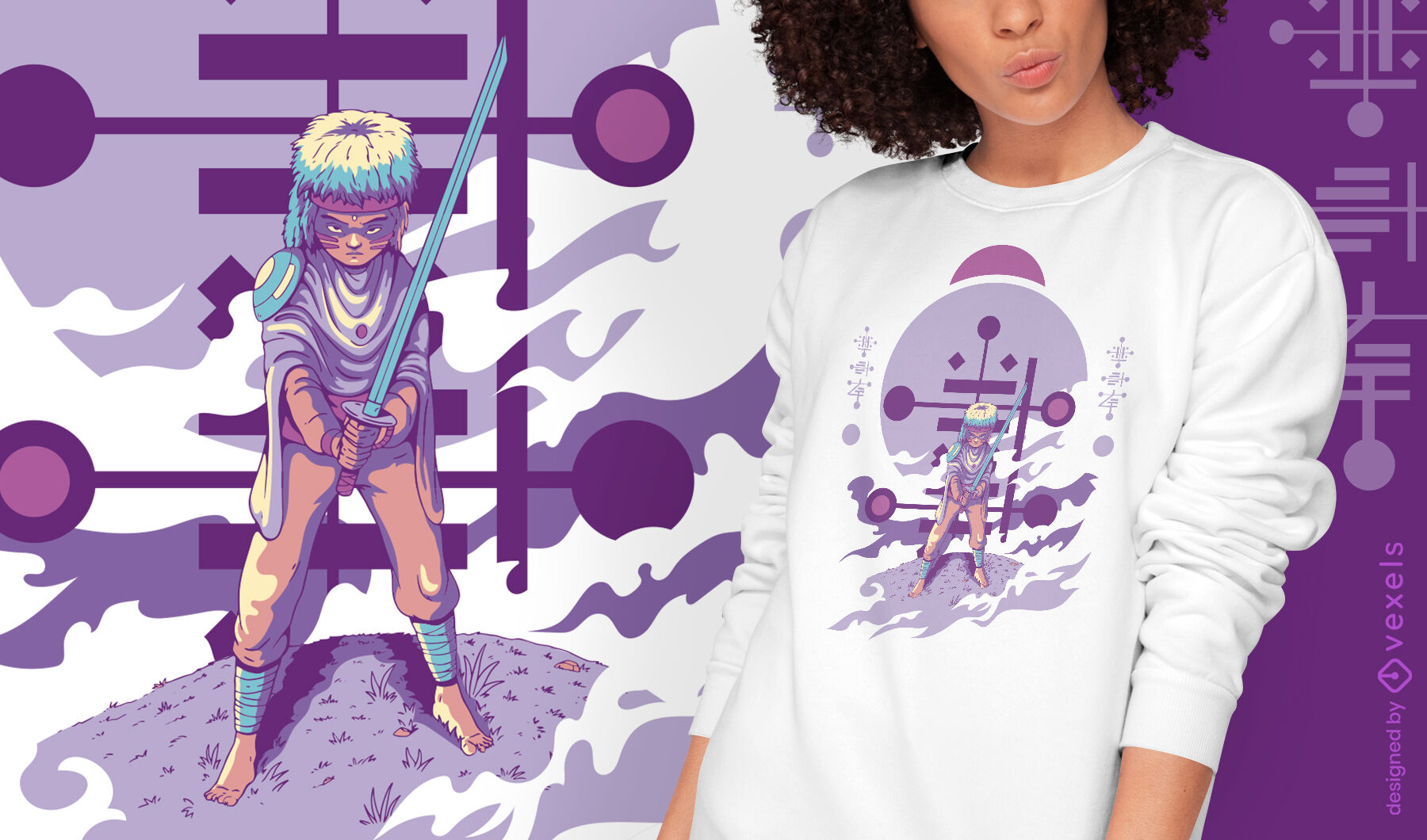 Young humanoid alien with sword t-shirt design