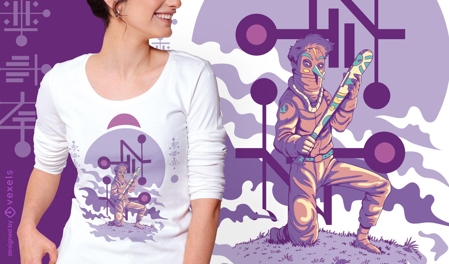 Masked kneeling alien warrior with bat t-shirt design