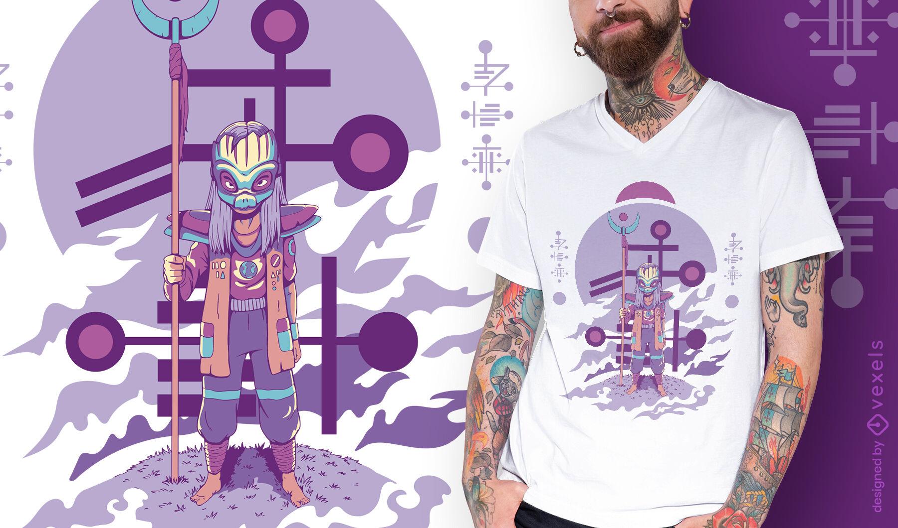 Alien de pie con diseño de camiseta de personal alto