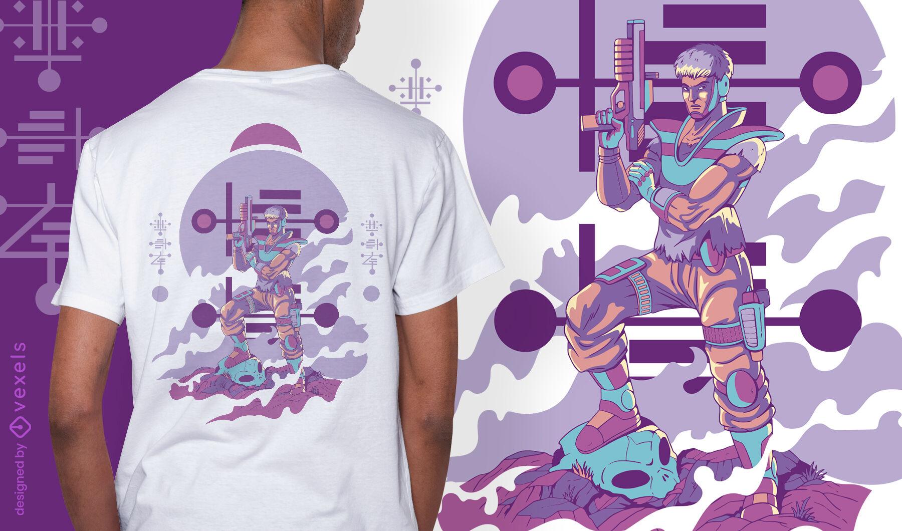 Alien humanoide con diseño de camiseta de arma.