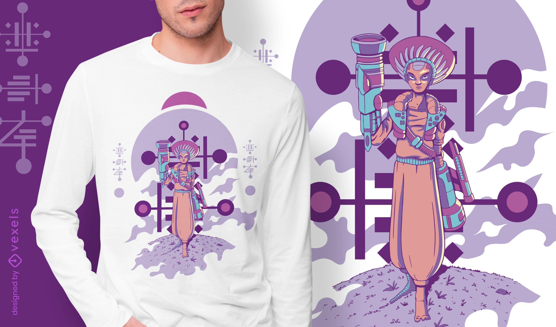 Diseño de camiseta alienígena cyborg de pie