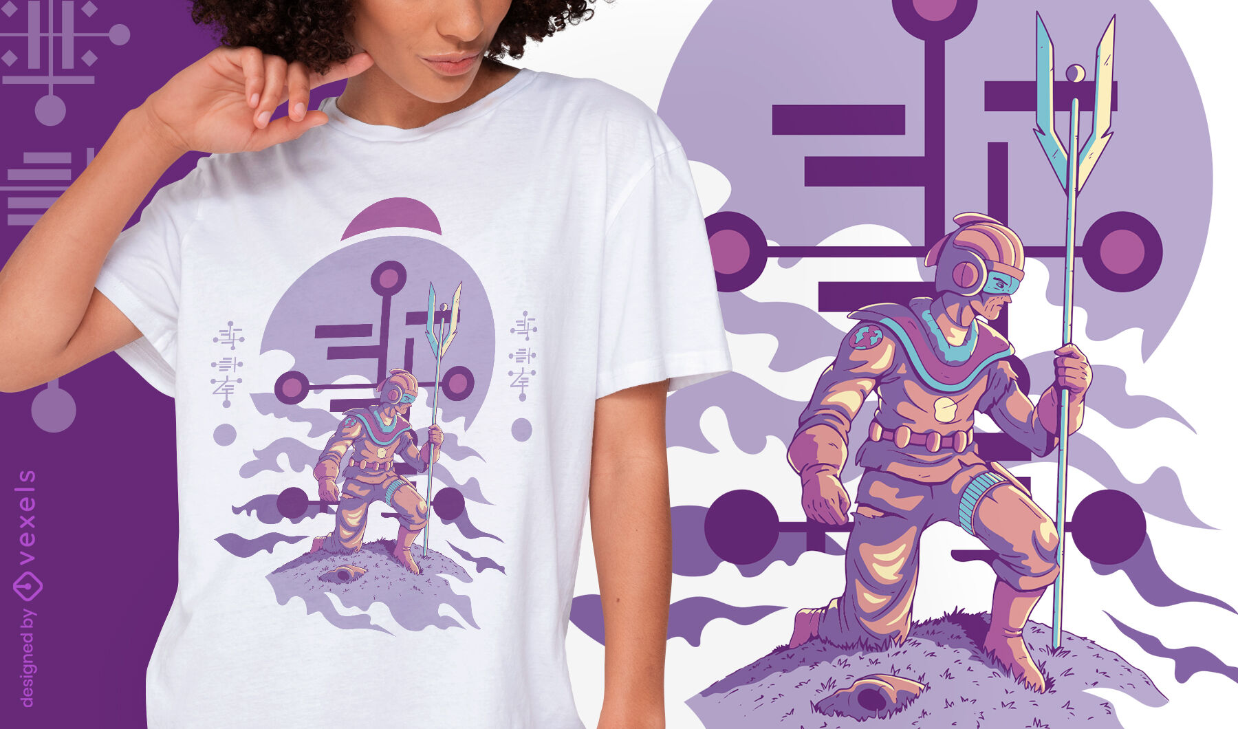 Alien humanoide arrodillado con bastón y diseño de camiseta de casco