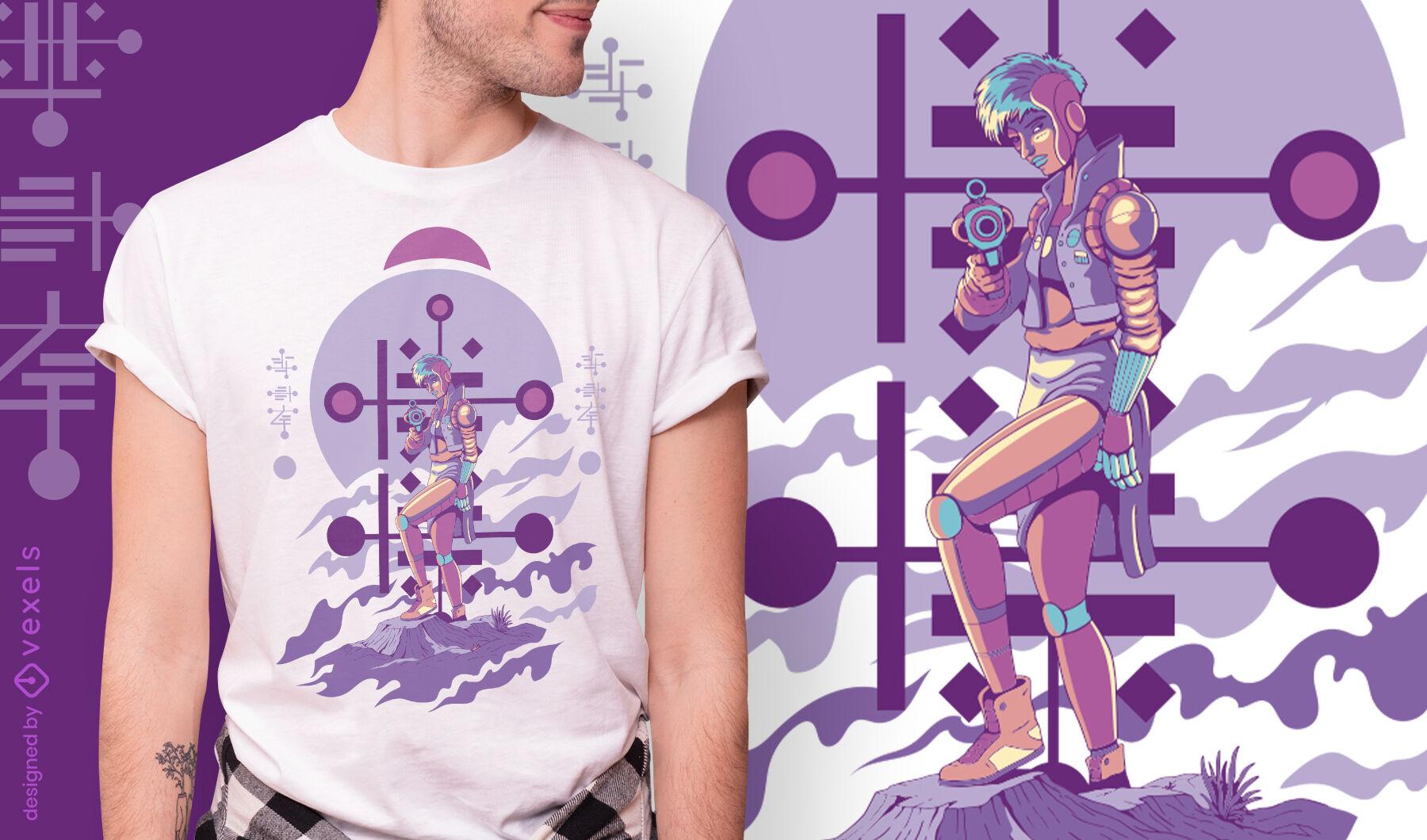 Standing human like alien with gun t-shirt design