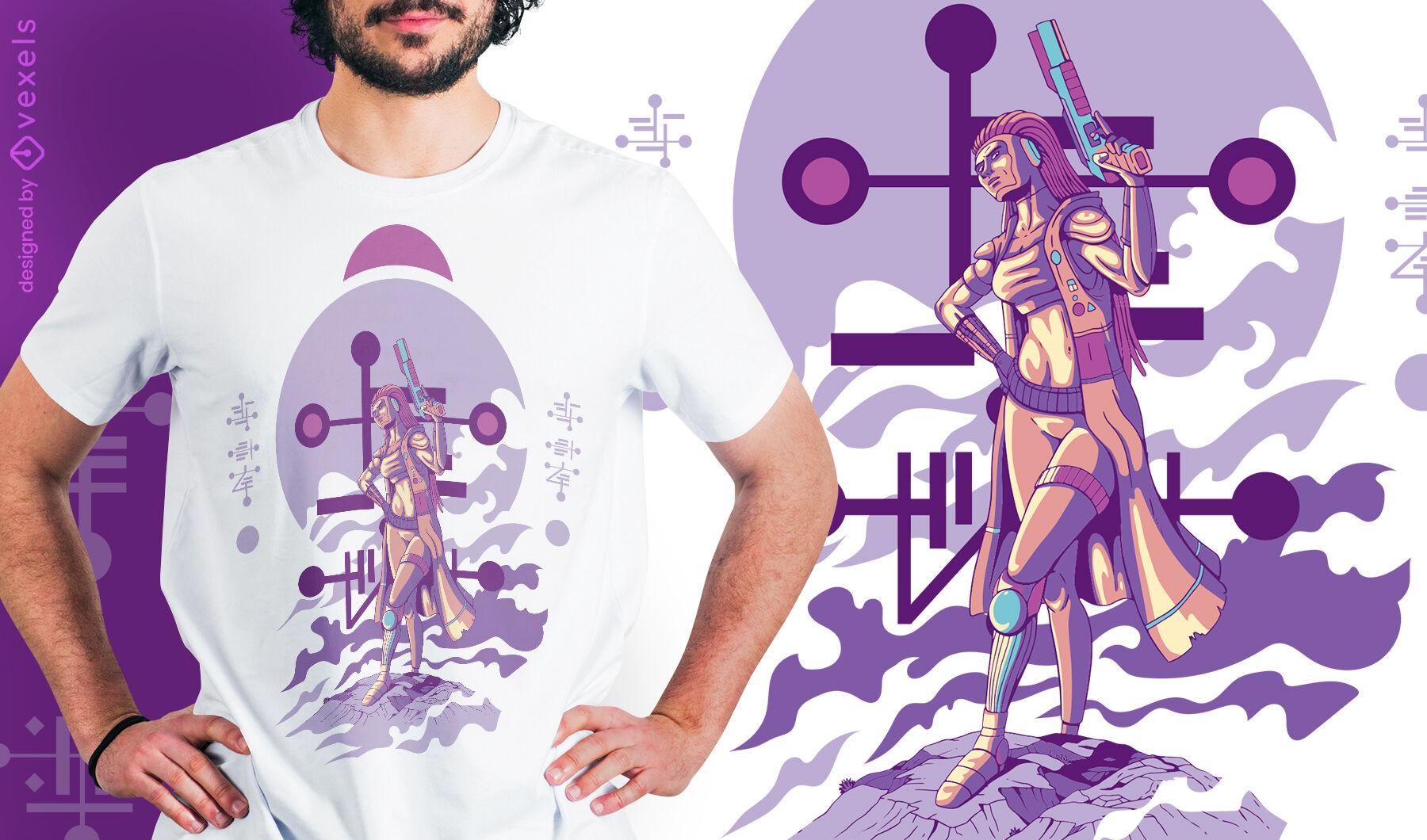 Female humanoid alien with gun t-shirt design