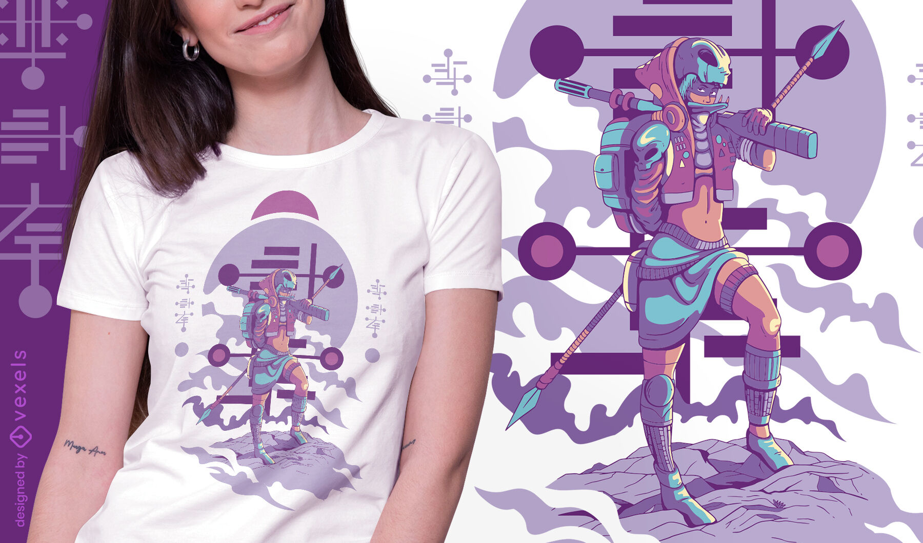 Female scavenger alien t-shirt design