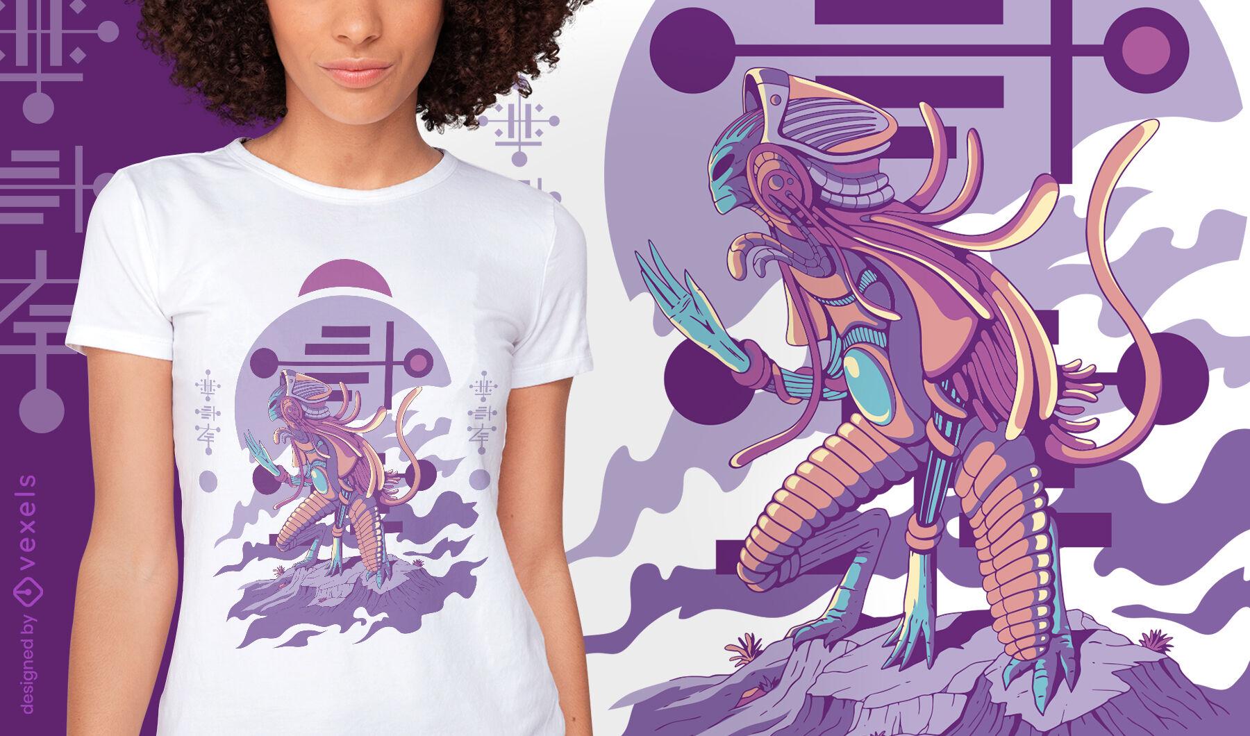 Diseño de camiseta arrodillada criatura alienígena.