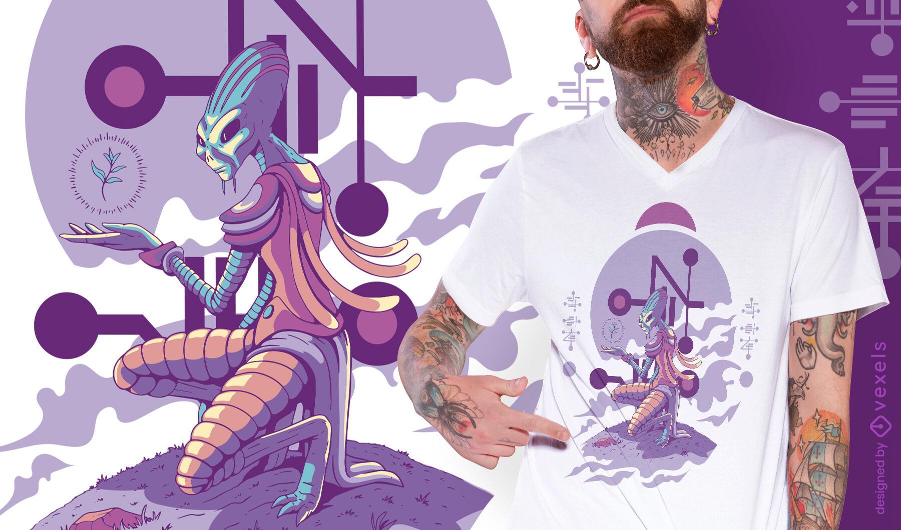 Desenho de camiseta com ilustração de criatura alienígena