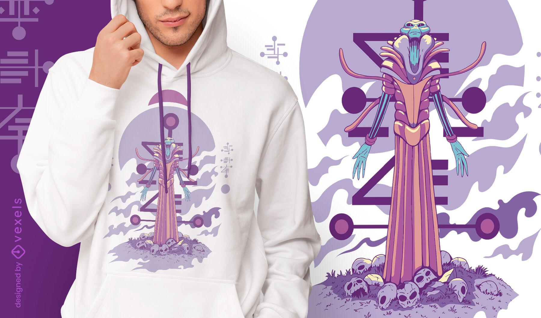Stehender Alien mit T-Shirt-Design mit offenen Armen