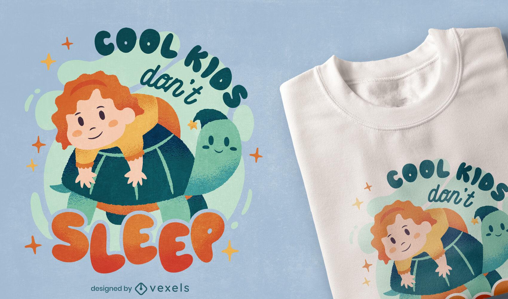 Kind umarmt niedliches T-Shirt-Design der Schildkröte