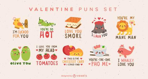 Conjunto de citas de juego de palabras del día de san valentín