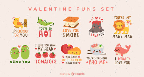 Valentine's day set of pun quotes