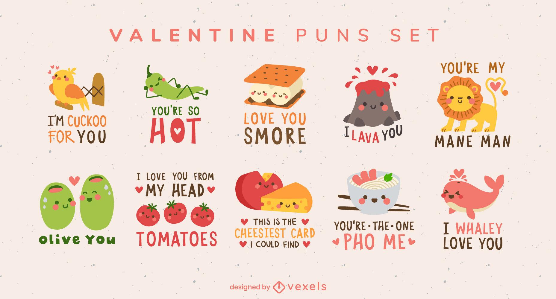 Conjunto de citações de trocadilhos do Dia dos Namorados
