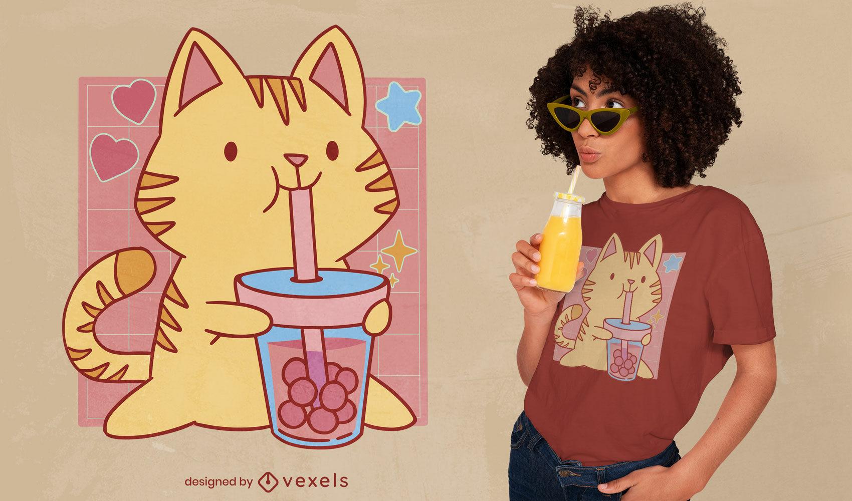 Diseño de camiseta de dibujos animados de gato boba tea