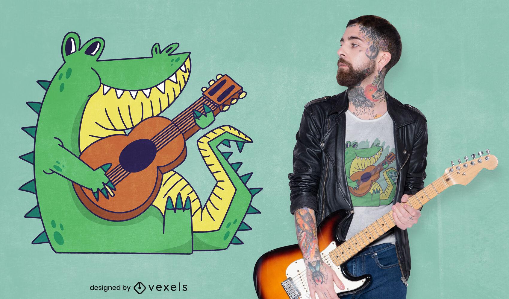 Diseño de camiseta de cocodrilo tocando la guitarra.