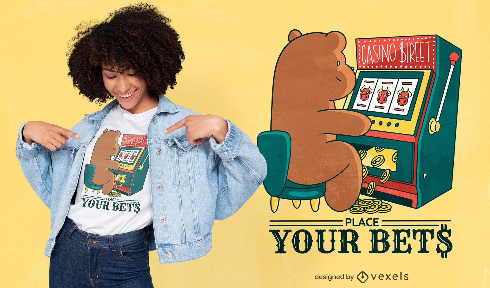 Finance casino slot bear t-shirt design