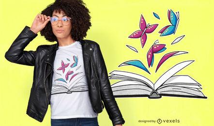 Mariposas en diseño de camiseta de libro.
