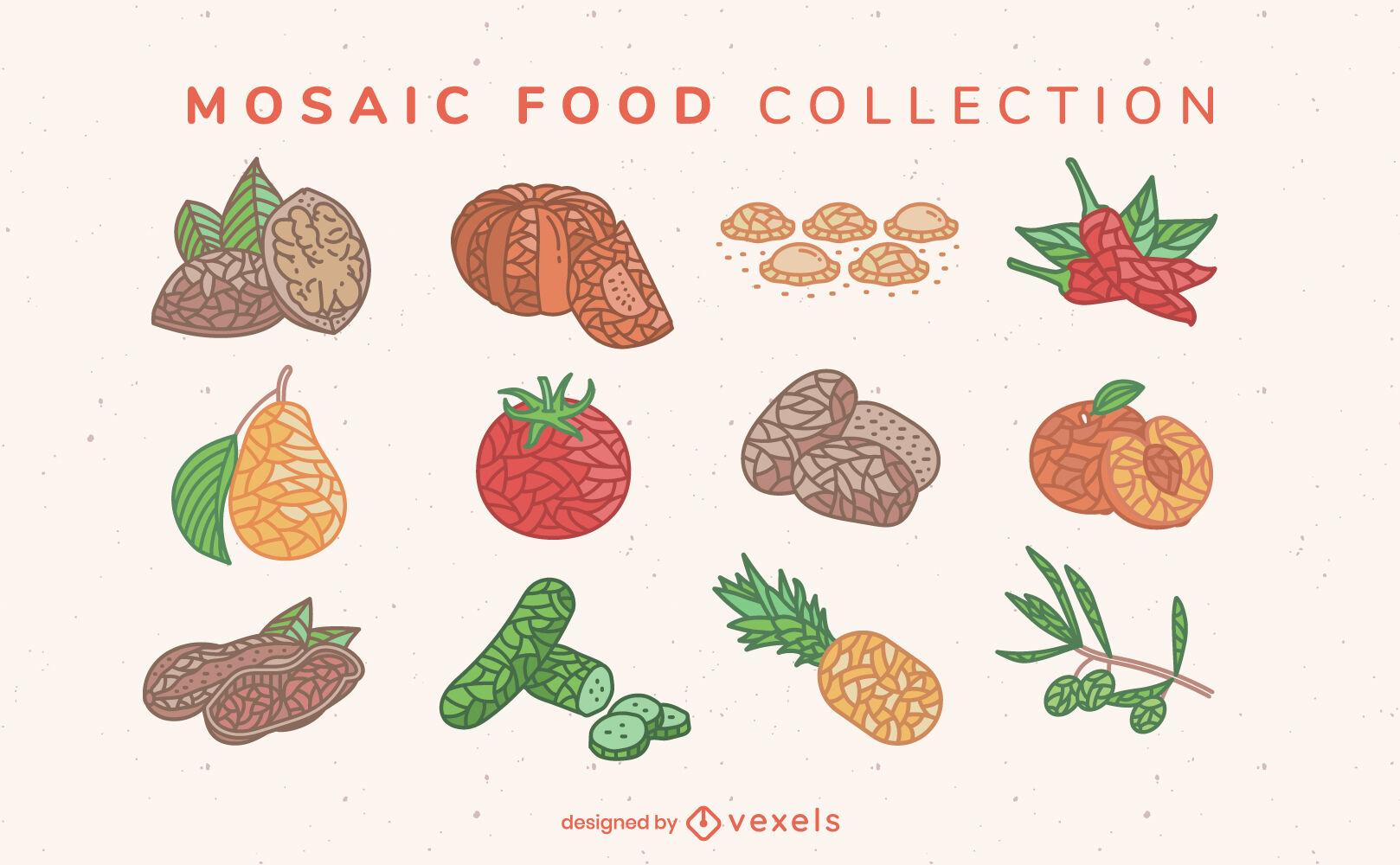 Mosaic color food ingredients set